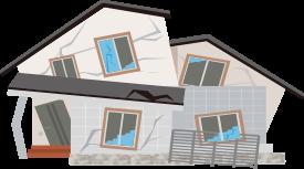 一度大きな地震を受けると地震に抵抗する耐力壁も損傷